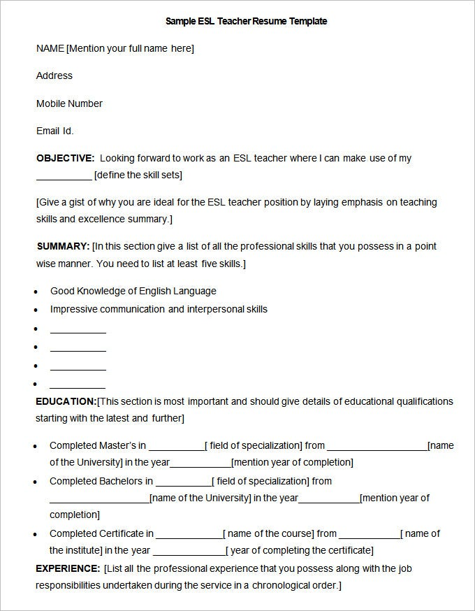 teacher resume templates – free sample  example format    sample esl teacher resume template