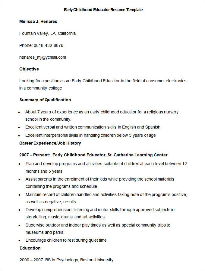 sample early childhood educator resume template - Education Resume Format