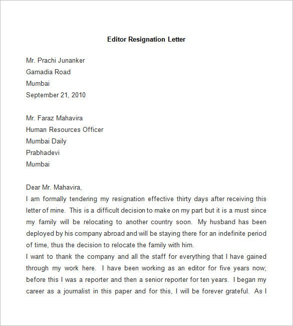 resignation letter template 25 free word pdf documents download