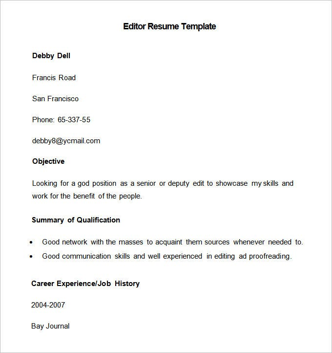 Good Sample Editor Resume Template