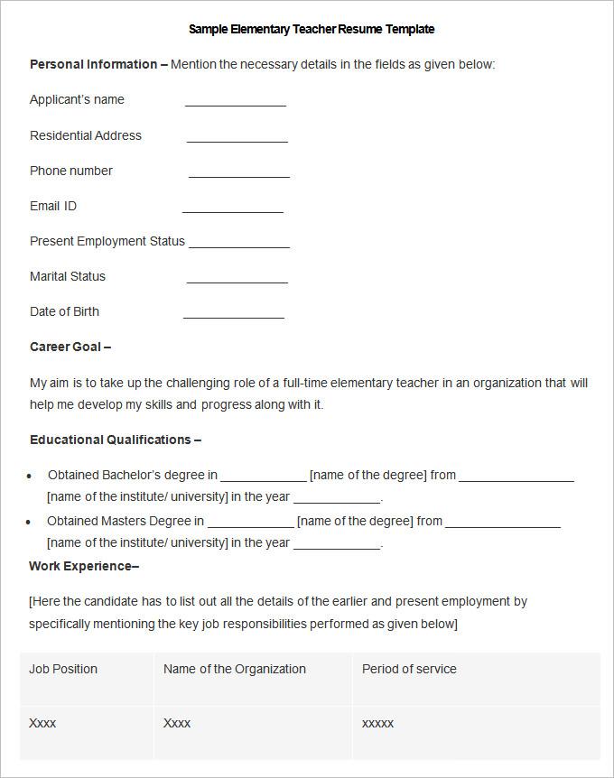 Elementary teacher resume examples