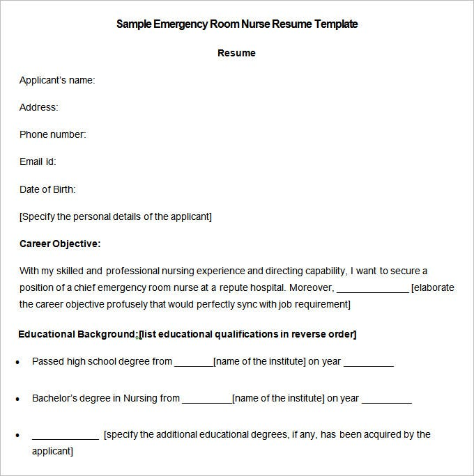 Sample Emergency Room Nurse Resume Template Download