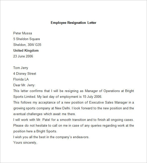 Sample Of Resignation Letter For Office Staff  Resume Layout