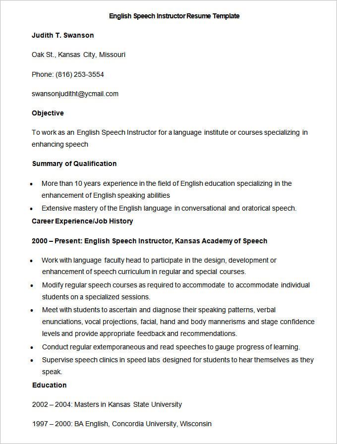 Resume In English – Tax Preparer Resume Sample