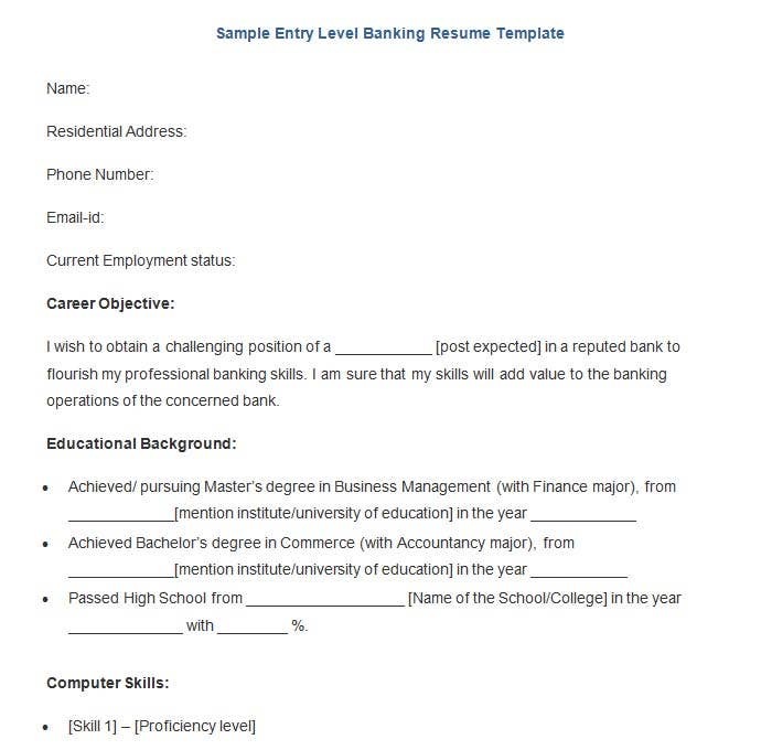 Free Sample Entry Level Banking Resume Template  Bank Resume Template