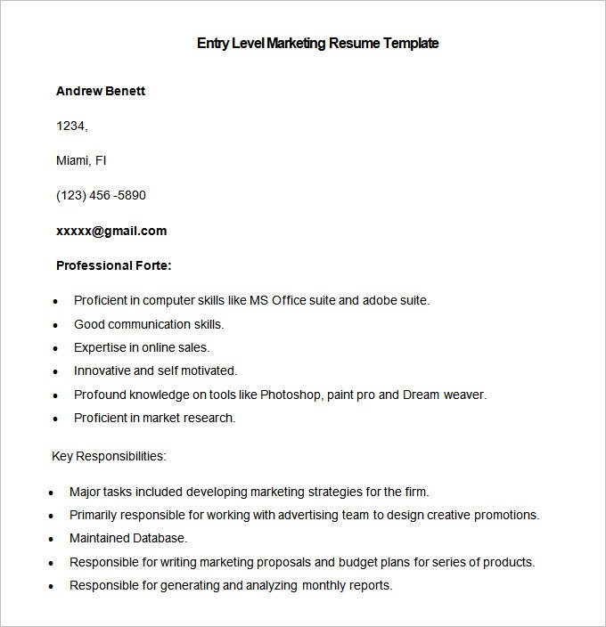 Sample Entry Level Marketing Resume Template. Free Download