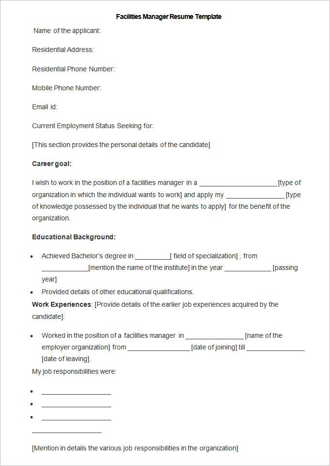 resume for facility manager