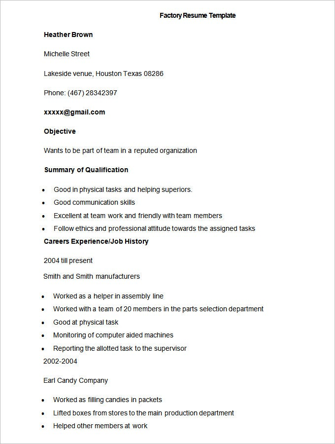 sample factory resume template