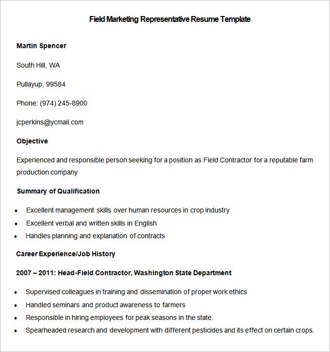 sample field marketing representative resume template download