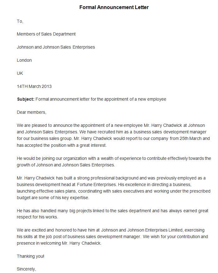 announcement letter template .