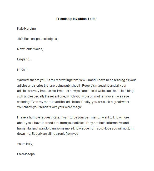 36+ Friendly Letter Templates – Free Sample, Example Format ...