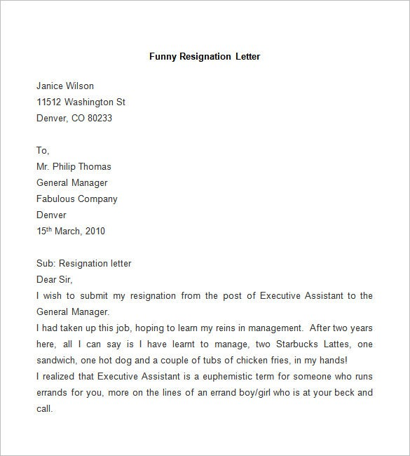 funny resignation letters resignation letter template 25 free word pdf documents 12035 | Sample Funny Resignation Letter.