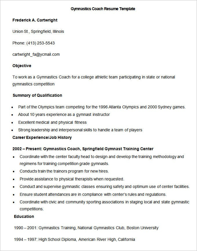 sample gymnastics coach resume template1