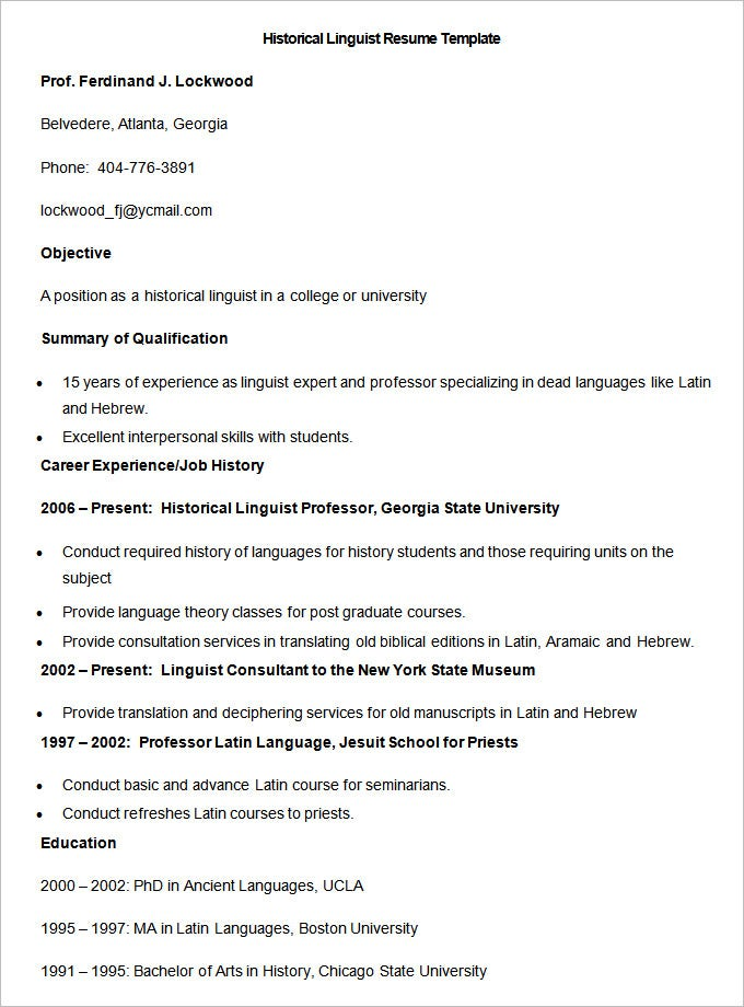 sample historical linguist resume template12