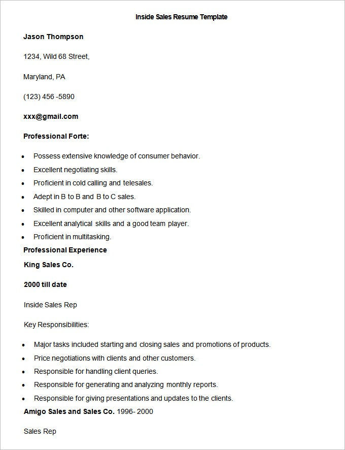 sample inside sales resume template - Resume Format For Sales Executive