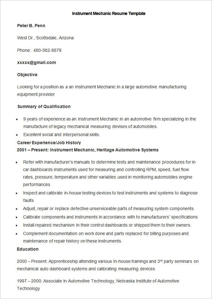 sample instrument mechanic resume template - Assembly Line Resume Sample