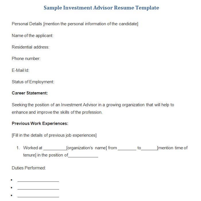 this is a compact free download investment advisor resume template which offers points on how to write a standard career statement followed by the mention