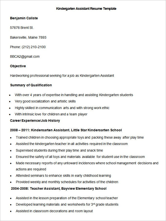 sample kindergarten assistant resume template1