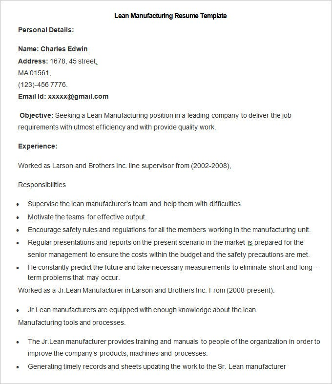 sample lean manufacturing resume template working holiday visa example format