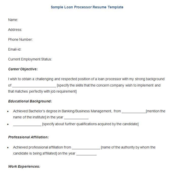 this free download loan processor resume template presents a structured format highlighting on all the vital points to be covered by a standard resume - Educational Background Resume Sample