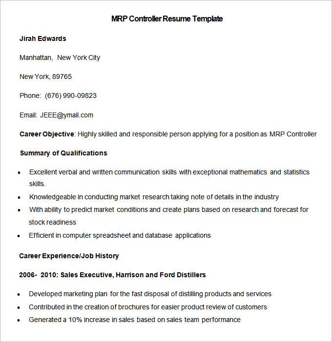 sample mrp controller resume template download