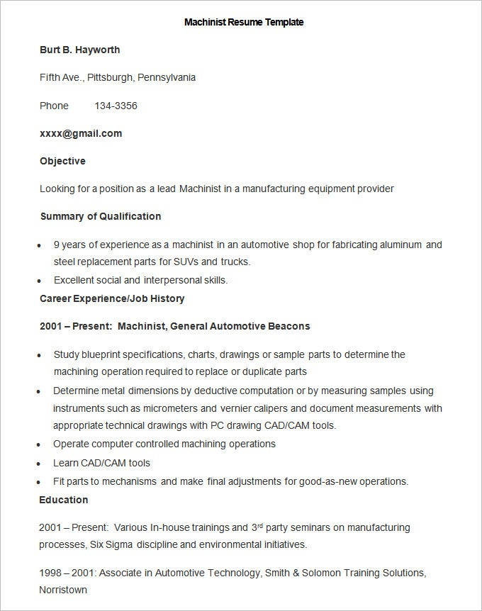 sample machinist resume template. Resume Example. Resume CV Cover Letter