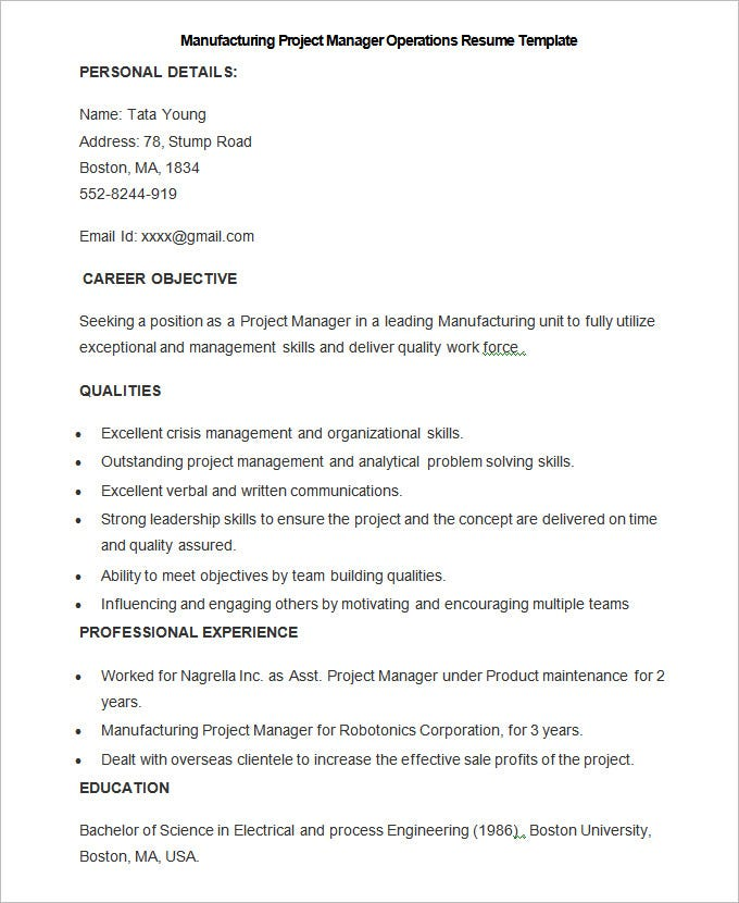 sample manufacturing project manager operations resume template1