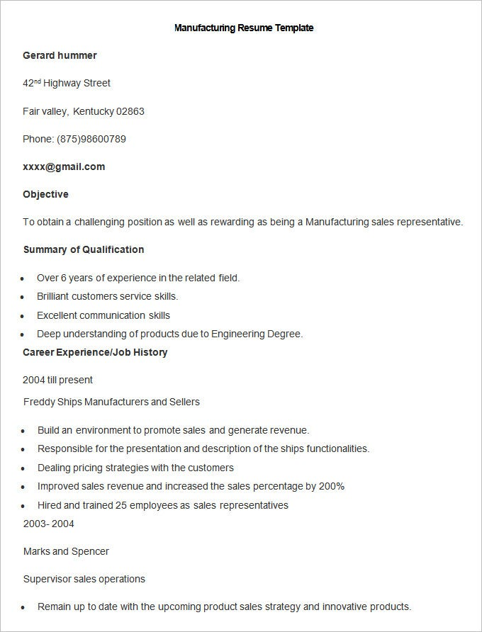 manufacturing resume template .