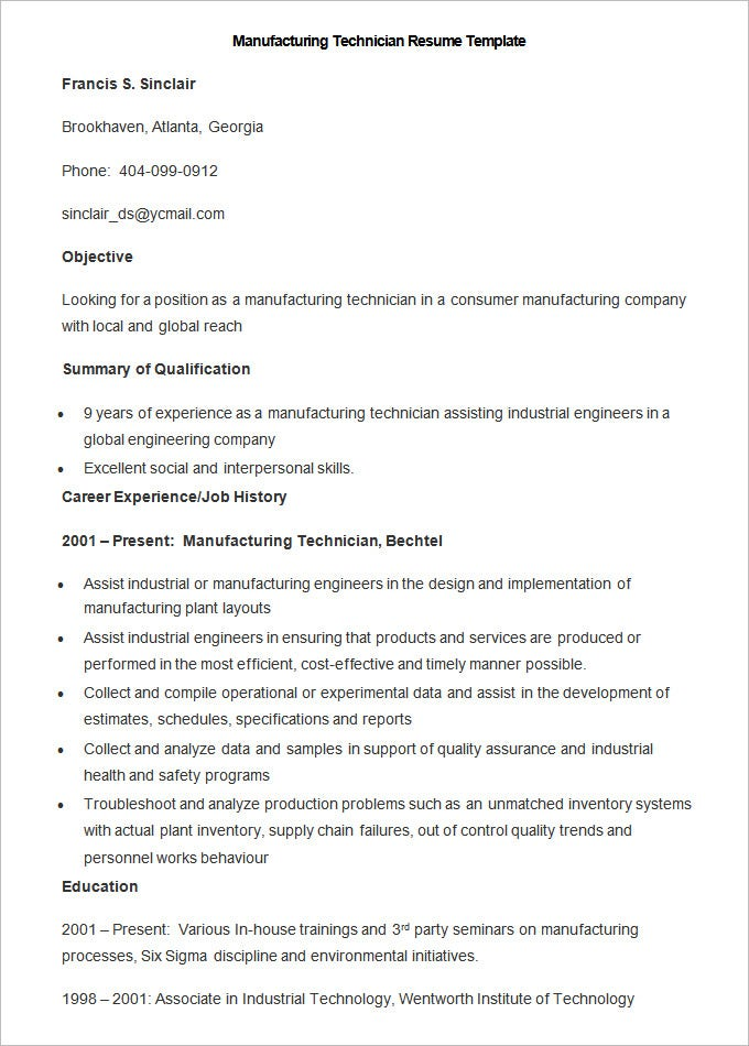 Manufacturing Resume Template   Free Samples Examples Format