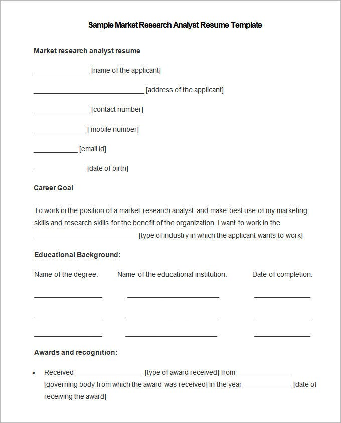 Market Research Resume Samples,research assistant resume sample ...