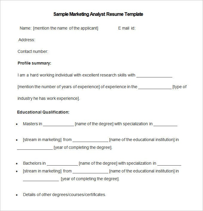 sample marketing analyst resume template free download