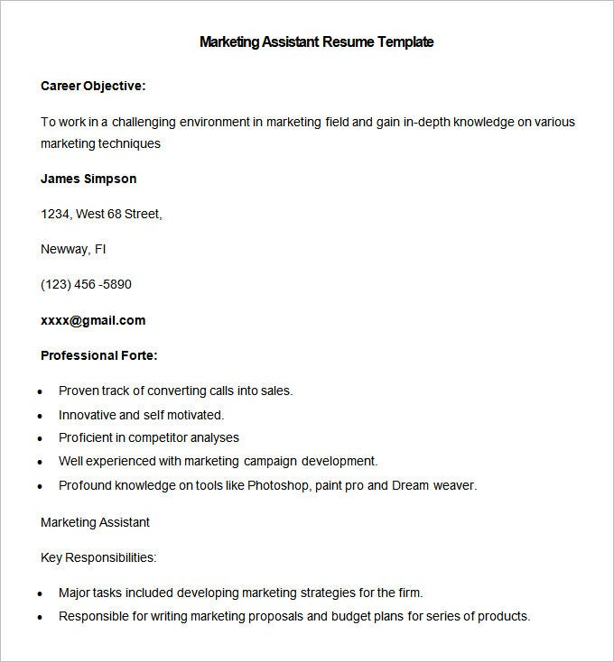 Merveilleux Sample Marketing Assistant Resume Template