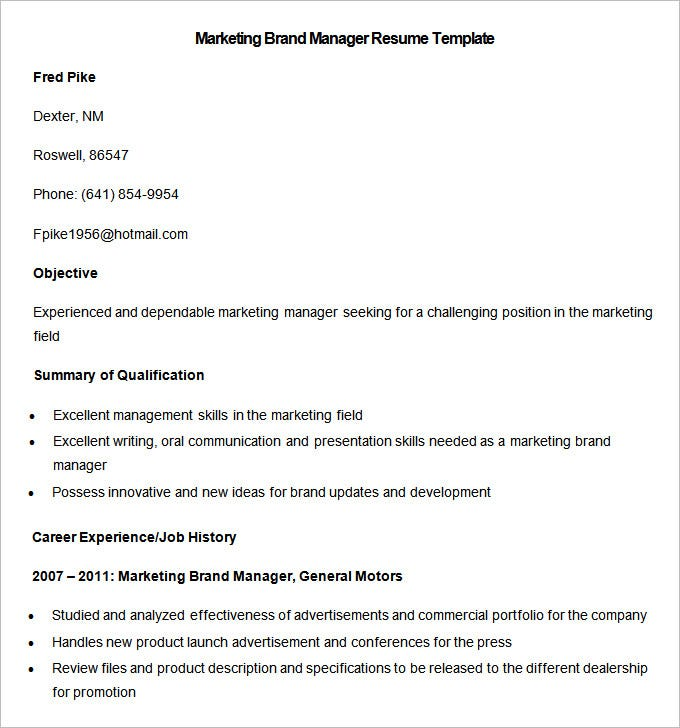 sample marketing brand manager resume template download