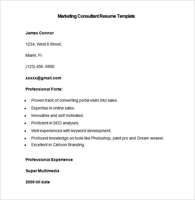 sample marketing consultant resume template free download