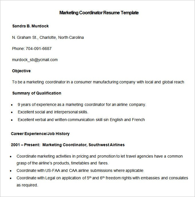 Marketing Coordinator Sample Resume – Marketing Coordinator Job Description
