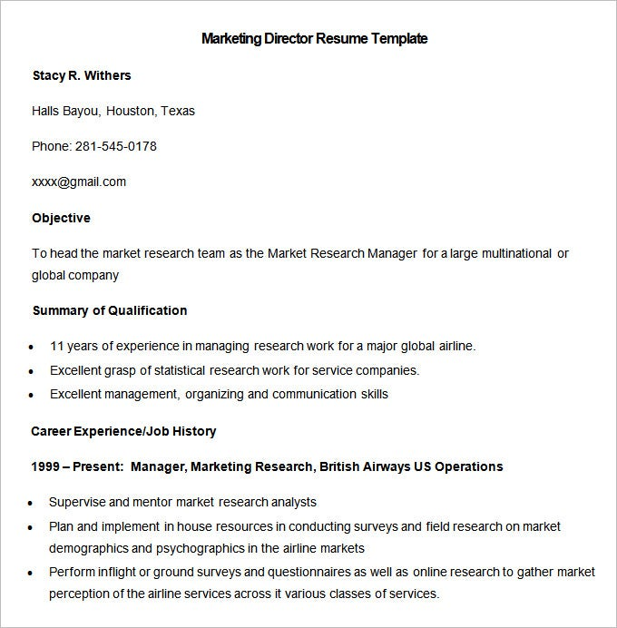 sample marketing director resume template download