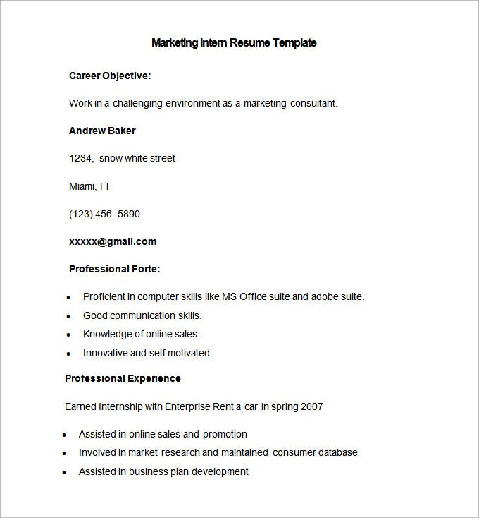 Sample Marketing Intern Resume Template  College Student Resume For Internship