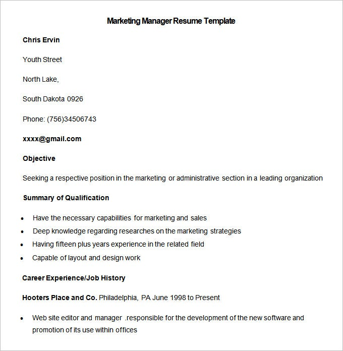 sample marketing manager resume template download