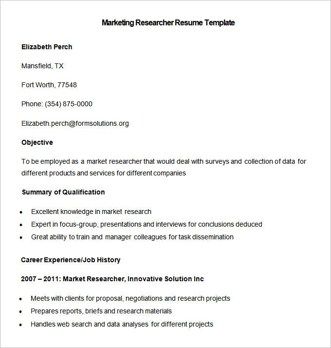 sample marketing researcher resume template