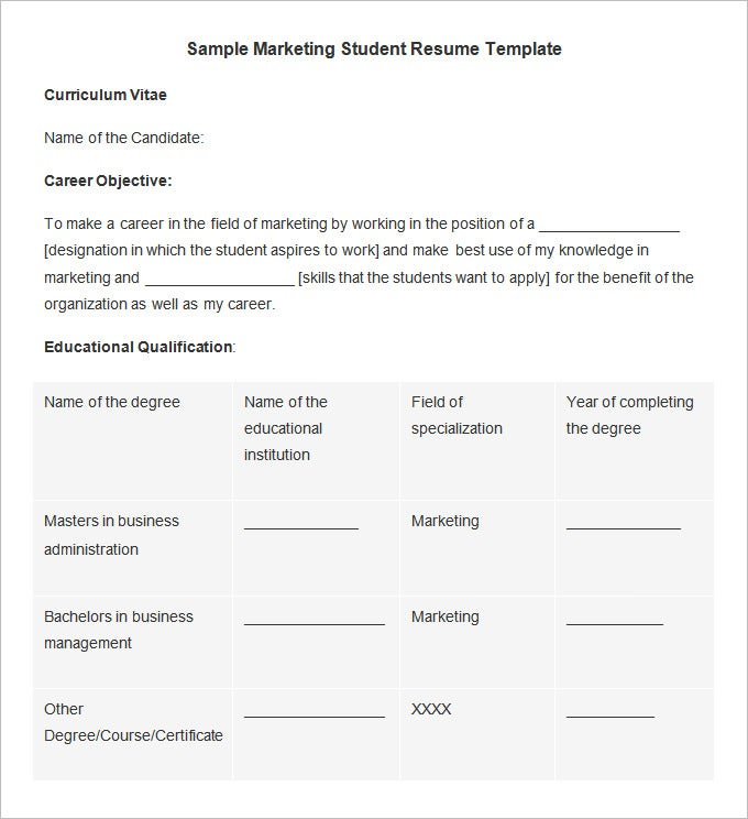 sample marketing student resume template word