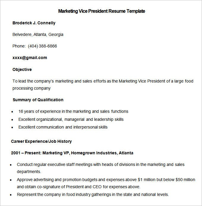 sample marketing vice president resume template download