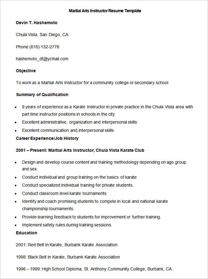 sample martial arts instructor resume templates downloads free microsoft word acting template google docs download pdf