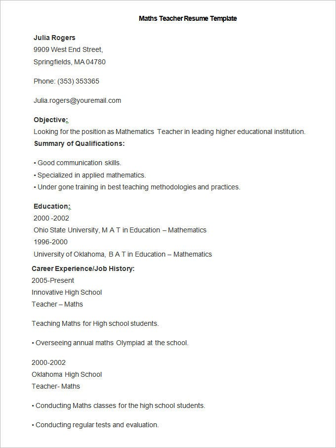 elementary teacher resume sample outline research paper teacher resume resource nursery school teacher resume sample resume - Resume Template For Teachers