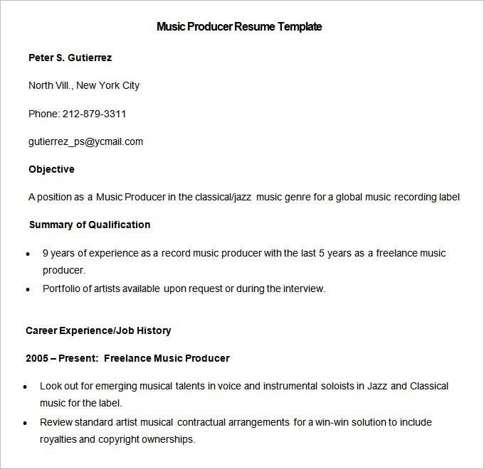 media resume template 31 free samples examples format - Music Resume Template
