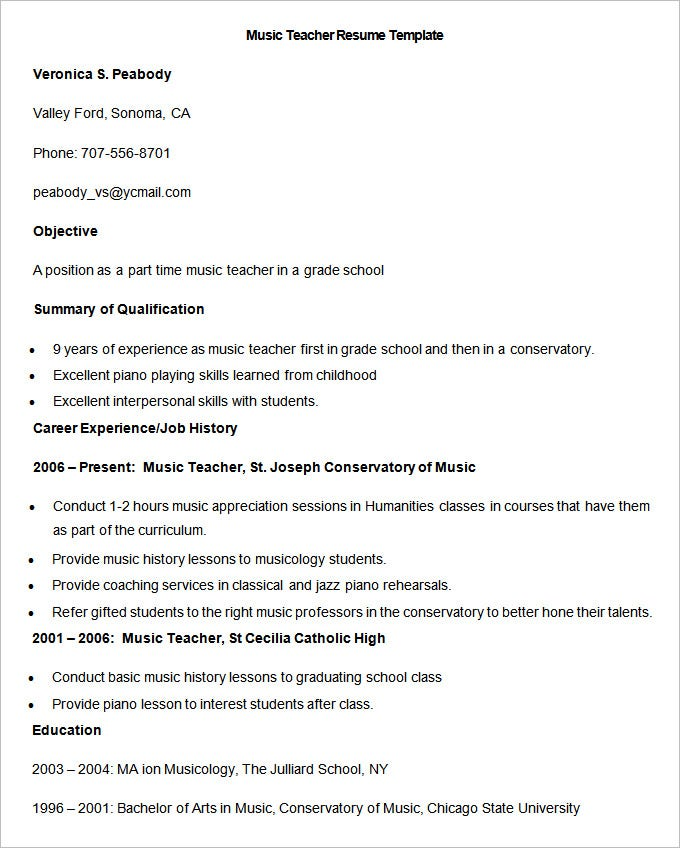 Music Teacher Resume Template,Our 1 Top Pick for Orchestra Teacher ...