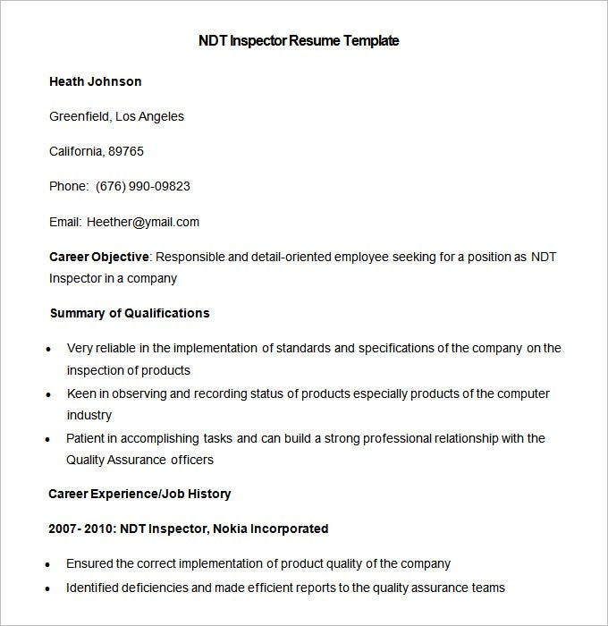 Sample NDT Inspector Resume Template