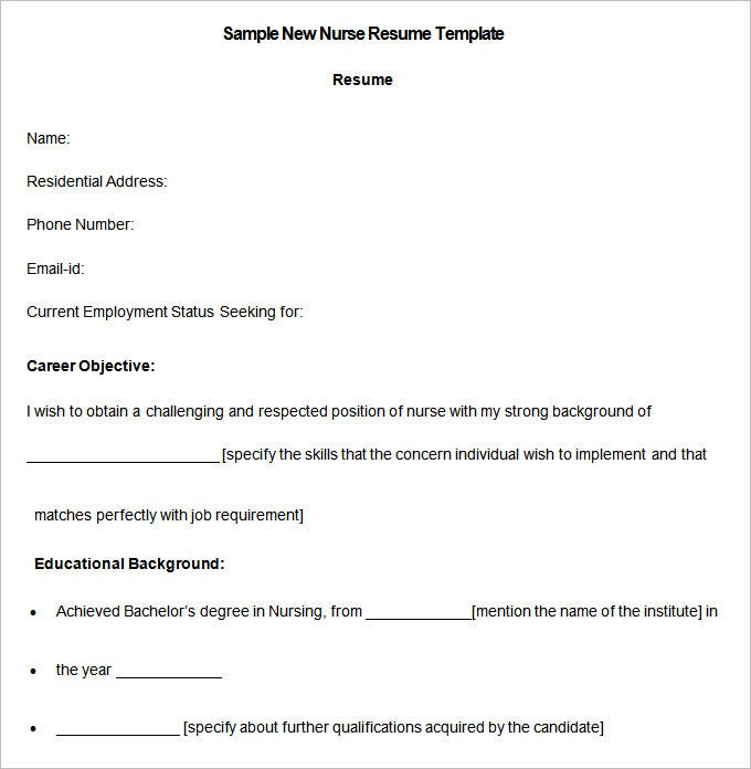 Sample New Nurse Resume Template Download