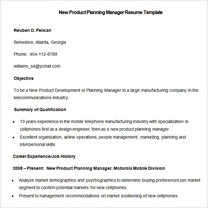 Sample New Product Planning Manager Resume Template. Free Download