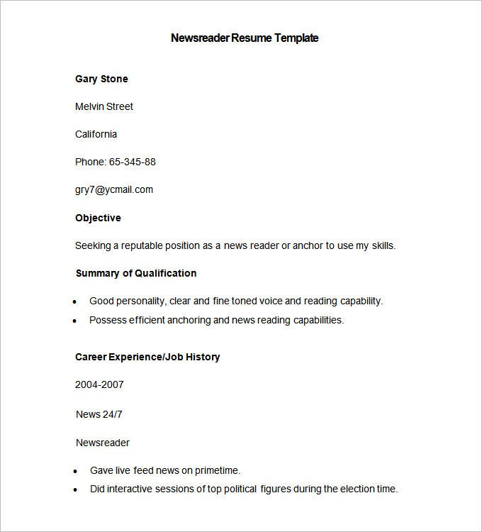 sample newsreader resume template download
