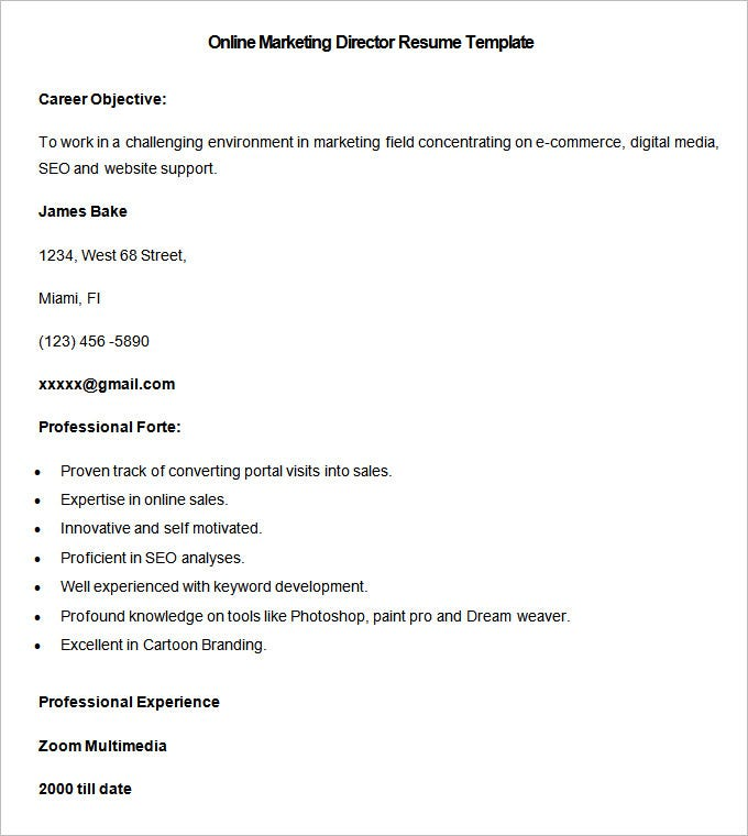 sample online marketing director resume template download